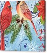 Winter Blue Cardinals-peace Card Canvas Print