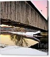 Winter Bridge Geese At Sunset Canvas Print