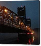 Winter Bridge In Fog 2 Canvas Print