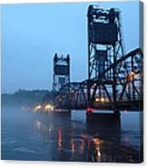 Winter Bridge In Fog Canvas Print