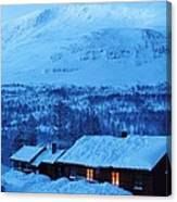Winter Cabin Arctic Alpinglow Canvas Print
