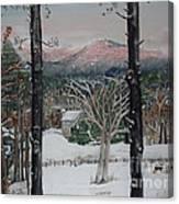 Winter - Cabin - Pink Knob Canvas Print
