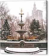 Winter - City Hall Fountain - New York City Canvas Print