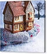Winter Cottage In Gloved Hand Canvas Print