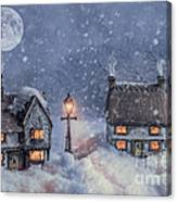 Winter Cottages In Snow Canvas Print