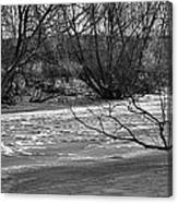 winter day BW-Black and white presentation of Snow on a frozen creek south  Canvas Print