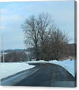 Winter Drive In The Country Canvas Print