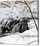 Winter Falls On Big Stone Lake Mn Canvas Print