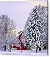Winter Farm Scene Canvas Print
