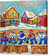 Winter Fun At Hockey Rink Magical Montreal Memories Rink Hockey Our National Pastime Falling Snow   Canvas Print