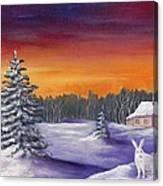 Winter Hare Visit Canvas Print