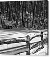 Winter Hut In Black And White Canvas Print
