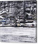 Winter Ice Lake Scene Hopatcong Covered Port Canvas Print