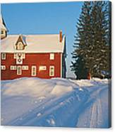 Winter In New England, Mountain View Canvas Print