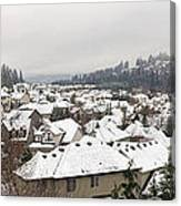 Winter In Residential Suburban City Canvas Print