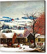 Winter In The Country Folk Art Canvas Print