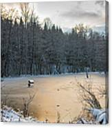 Winter Landscape With Frozen Lake And Warm Evening Twilight Canvas Print