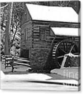 Winter Mill In Black And White Canvas Print