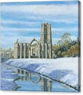 Winter Morning Fountains Abbey Yorkshire Canvas Print
