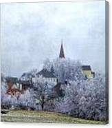 Winter Morning In My Village Canvas Print