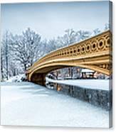 Winter Morning With Bow Bridge Canvas Print