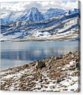 Winter Mt. Timpanogos And Deer Creek Reservoir Canvas Print