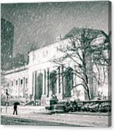 Winter Night In New York City - Snow Falls Onto 5th Avenue Canvas Print