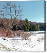 Winter On The Moose River - Old Forge New York Canvas Print