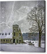 Winter on the Old Stone Church Canvas Print