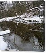 Winter Reflections On Ice And Water Canvas Print