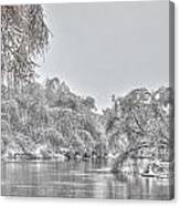 Winter River Scene Canvas Print