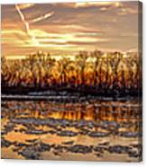 Winter River Sunrise Canvas Print
