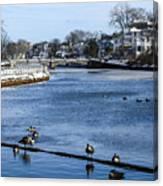 Winter Scene Jersey Shore Town Canvas Print