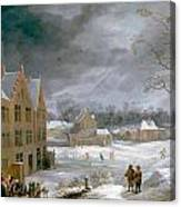 Winter Scene With A Man Killing A Pig Canvas Print