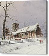 Winter Scene With Figures On A Path Near A Church Canvas Print