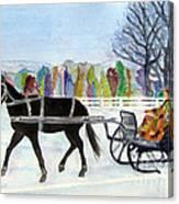 Winter Sleigh Ride Canvas Print