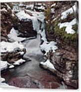 Winter Still Has Its Icy Grip On Adams Falls Canvas Print