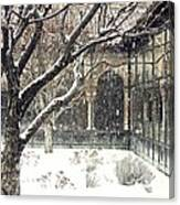 Winter Storm At The Cloisters 3 Canvas Print
