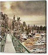 Winter Sunrise Over A Swinging Bridge Canvas Print