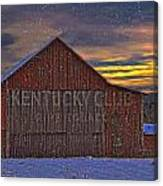Winter Sunrise Over Dorothy's Barn. Canvas Print