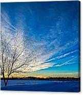 Winter Sunset At Diamond Lake Canvas Print