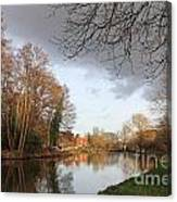 Winter Sunshine On The Wey Canal Surrey Uk Canvas Print
