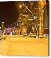 Winter Time Street Scene In Krizevci Canvas Print