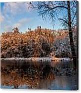 Winter Trees Lake Reflected Canvas Print