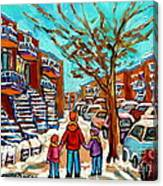 Winter Walk Montreal Paintings Snowy Day In Verdun Montreal Art Carole Spandau Canvas Print