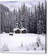 Forest Snow Blanketed Privies - Winter In Banff, Alberta Canvas Print
