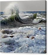 Winter Waves At Whitefish Dunes Canvas Print