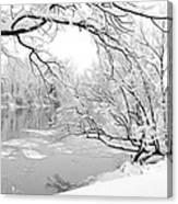 Winter Wonderland In Black And White Canvas Print