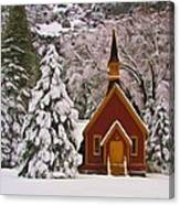 Winter Yosemite Chapel Canvas Print