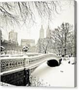 Winter's Touch - Bow Bridge - Central Park - New York City Canvas Print